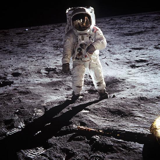 Buzz Aldrin dans sa combinaison spatiale A7L