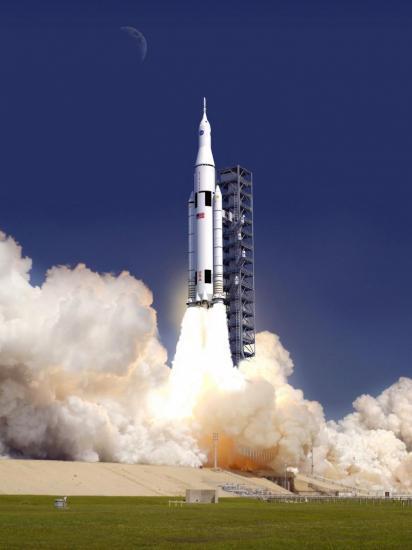 Vue d'artiste de la probable fusée Space Launch System