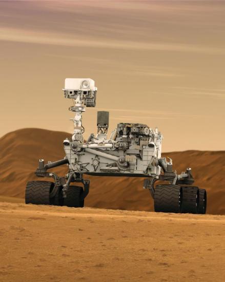 Vue d'artiste du rover Curiosity