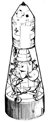 Schéma du vaisseau Apollo (CM + SM)